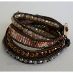 5 Wrap Up Mixed Beads & Leather Tribal Bracelet - B