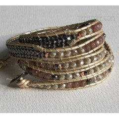5 Wrap Up Mixed Beads & Braided Chain with Leather Bracelet / Beige