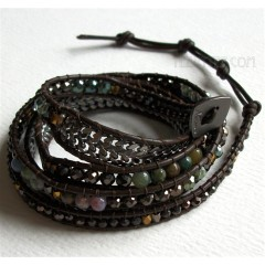 5 Wrap Up Mixed Beads & Braided Chain with Leather Bracelet / Choco