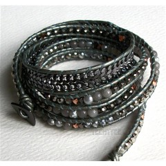 5 Wrap Up Mixed Beads & Braided Chain with Leather Bracelet / Gray