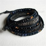 5 Wrap Up Mixed Beads and Braided Chain with Leather Bracelet / Navy