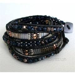 5 Wrap Up Mixed Beads & Leather Midnight Bracelet / Black