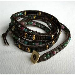 5 Wrap Up Mixed Beads & Leather BOHO Bracelet / Choco