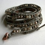 5 Wrap Up Mixed Beads & Leather DREAM Bracelet / Gray