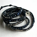 5 Wrap Up Czech Crystal Mixed Beads & Leather Bracelet / Navy