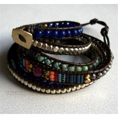 5 Wrap up Semiprecious Stone, Turquoise & Leather BOHO Bracelet