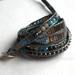 5 Wrap Up 5 Kind Mixed Beads Inset with Leather Bracelet / Gray