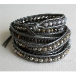 5 Wrap Up Crystal and mixed beads Moonstar bracelet Gray