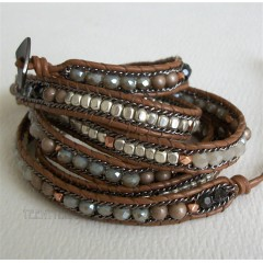 5 Wrap Up Crystal & Mixed Beads Moonstar Bracelet Brown