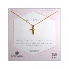 Cross Pendant with Crystal Inset FAITH Neckalce Gold