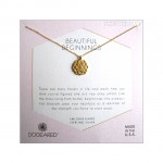 Lotus with Crystal Beautiful Beginnings Necklace Gold Boxed