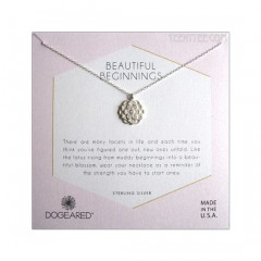 Lotus with Crystal Beautiful Biginnings Necklace S.Silver Boxed