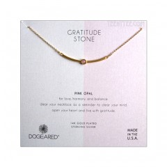 Pink Opal in the Gold Vermeil Curved Bar Gratitude Stone Necklace Boxed