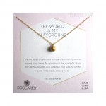 Sphere with Crystal The World is My Playground Necklace Gold Boxed