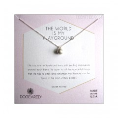 Sphere with Crystal The World is My Playground Necklace S.Silver Boxed