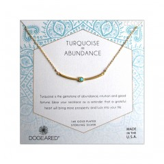 Turquoise in the Gold Vermeil Curved Bar Abundance Necklace Boxed