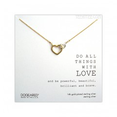 Two Linked Hearts Do All Things with Love Necklace