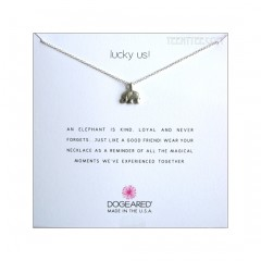 Happy Elephant Charm Lucky Us! Necklace Sterling Silver Boxed