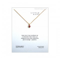 Little Ruby Dotted Bezel Necklace Gold Boxed