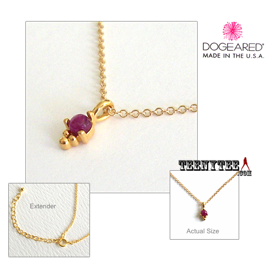 0c438388498538 Little Ruby Dotted Bezel Necklace Gold Boxed
