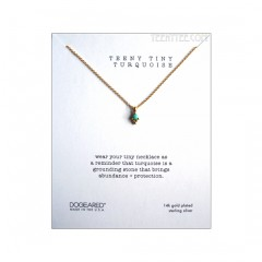 Teeny Tiny Turquoise Dotted Bezel Necklace Gold Boxed