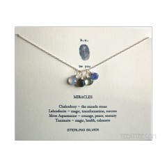 4 Gemstones Miracles Necklace Sterling Silver