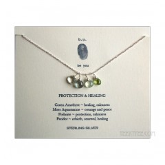 4 Gemstones Protection & Healing Necklace Sterling Silver