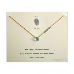 Blue Topaz Heart with Silver Hematite Necklace Gold