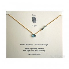 London Blue Topaz and Apatite Gem Necklace Gold