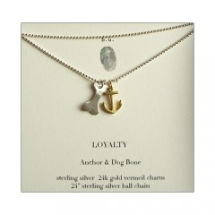 LOYALTY Dog Bone and Anchor Charm Necklace