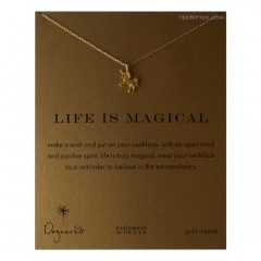 Life is Magical Necklace Unicorn Charm Gold Boxed