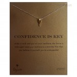 Cute Key Confidence is key Necklace Gold