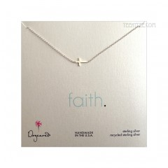 Sideways Cross FAITH Necklace Sterling Silver