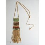 Color Block Beads & Metal Fringe Retro Necklace
