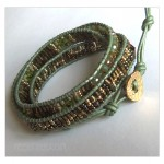 3 Wrap up Seed beads with leather Bracelet in Tribal Amazonite