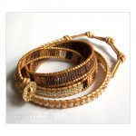 5 Wrap up Seed beads with leather Bracelet / Brown Variation
