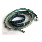 5 Wrap up Seed beads with leather Bracelet / Blue. Green Version
