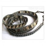 5 Wrap up Seed beads with leather Bracelet / GREY Version