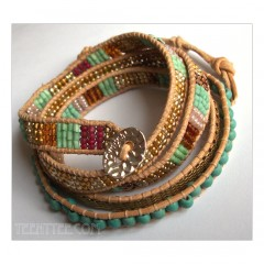 5 Wrap up Seed beads with leather Bracelet / Turquoise Version