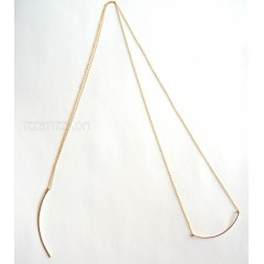 Dagger & Curved Bar Long Chain Necklace