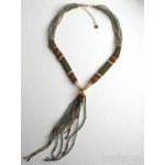 Beaded Collar & Fringe Necklace Blue