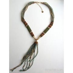 Beaded Collar & Fringe Necklace Blue