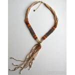 Beaded Collar & Fringe Necklace Cream