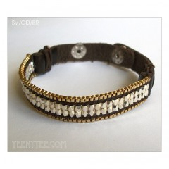 Metal Seed Beads Snap Leather Cuff Bracelet 3 styles