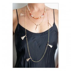 Beads & Tassels 3 Layer Necklace Pink
