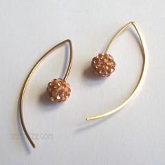 Crystal Nugget & Mini Angular Wire Earrings