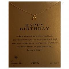 "Happy Birthday Necklace teeny Wishbone Gold 16"""