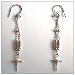 Dangling Cross Earrings Sterling Silver