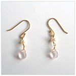 Pink Quartz & Vermeil Dangling Earrings