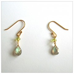 Labradorite & Peridot Gem Dangling Earrings